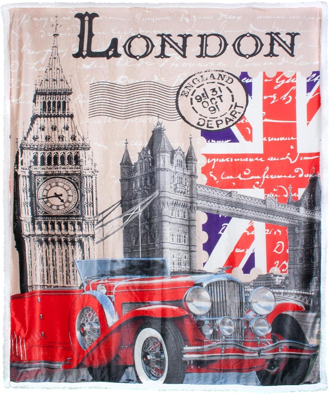 Imitation Peau dagneau 130 x 170 cm Rouge Motif Londres CelinaTex 5000203 Quinta Plaid en Microfibre