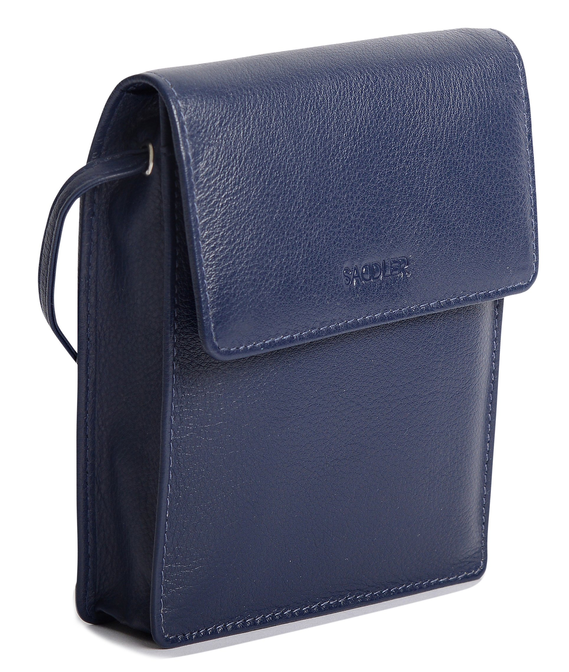 SADDLER Leather Cross Body Travel Passport Pouch - Card Holder - Peacoat Blue