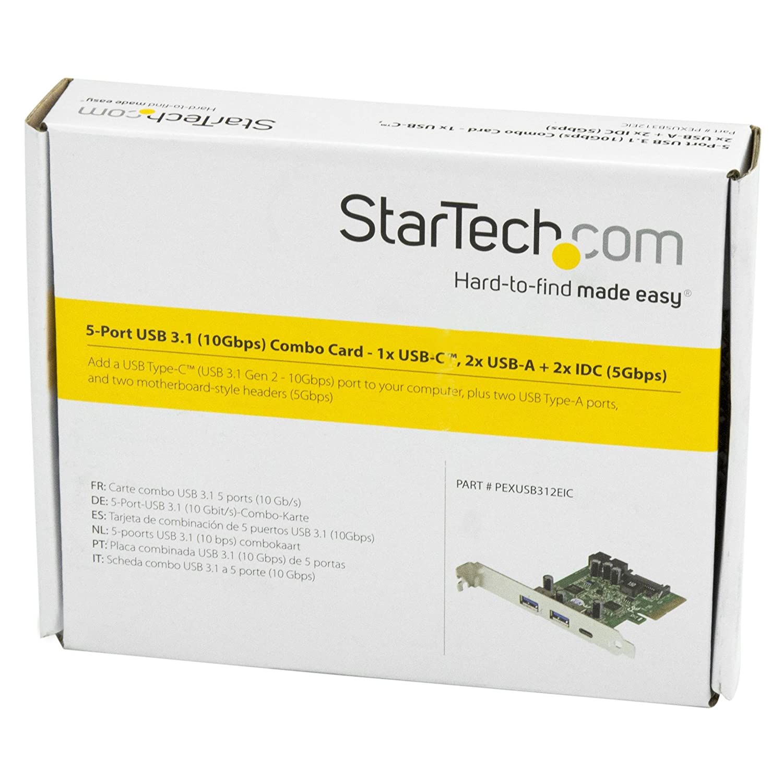 StarTech.com USB 3.1 PCIE Card - 5 Port - 1x USB-C - 2x USB-A - 2x IDC - Internal USB Header Expansion - USB C PCIe Card