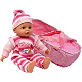 """13"""" Little Princess Baby Doll With Take Along Pink Doll Bassinet Carrier, Doll Plays 3 Different Baby Sounds and Comes Dressed in an Adorable Outfit with Matching Hat"""