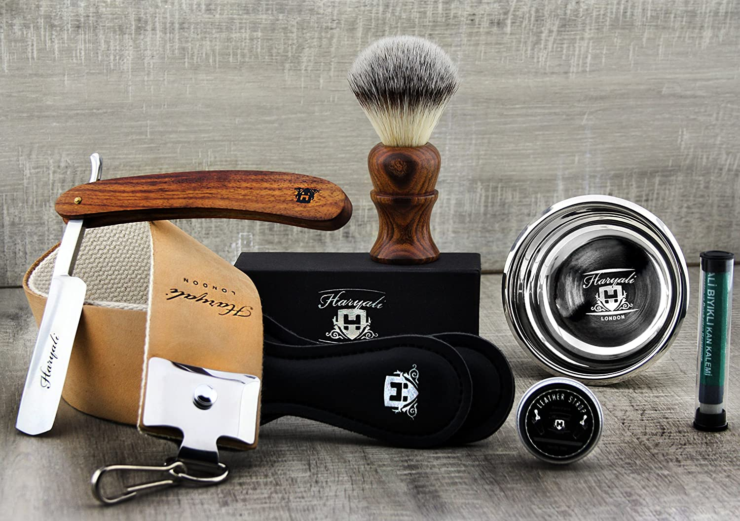 5 Piece Vintage Style Men's Shaving Set With Synthetic Hair Shaving Brush, Cut Throat Razor /Barber Style Razor, Double XL Pure Leather Strop & Sharping Paste , Stainless Steel Bowl +FREE Aluminyum PENCIL STICK. Perfect Set for Wet Shaving. Haryali Lon