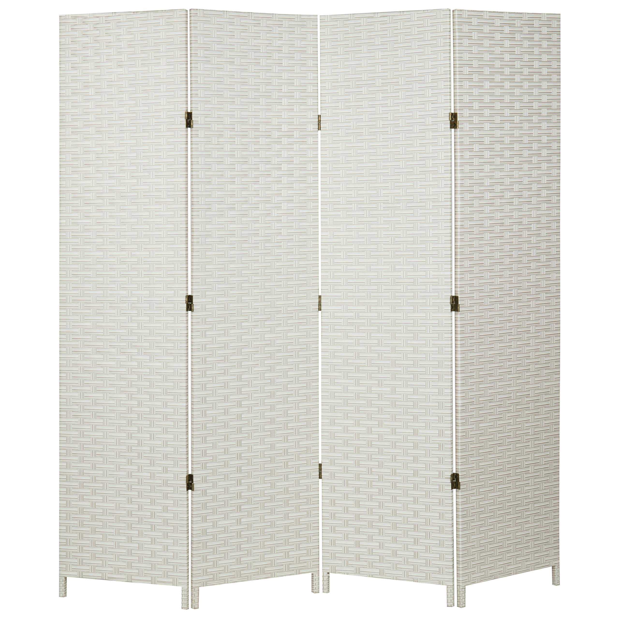 MyGift Folding Wood Room Divider, Standing 4-Panel Woven Privacy Screen, White by MyGift