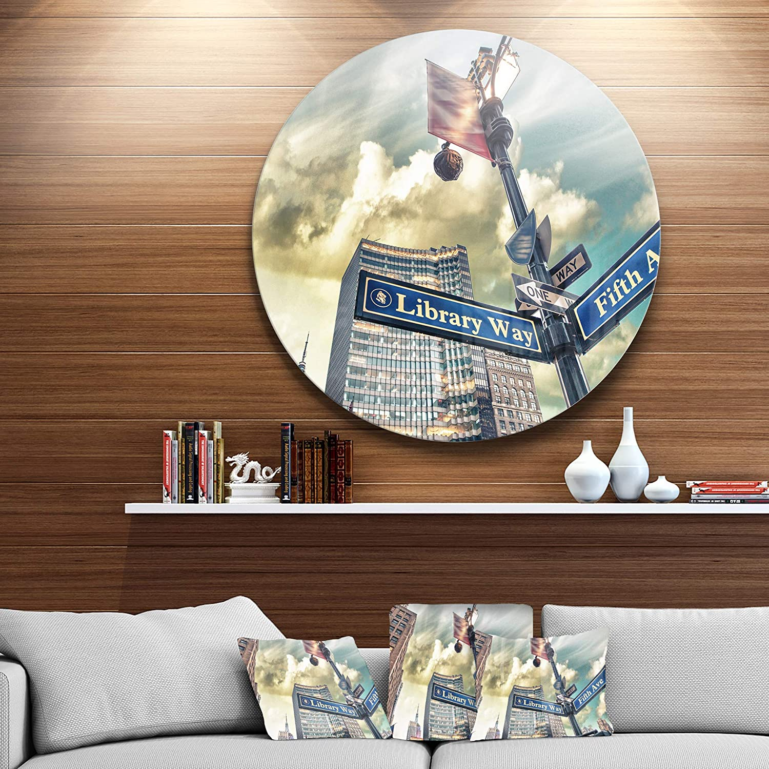 Designart Library Way and 5th Avenue Street Signs Modern Cityscape Round Wall Art Blue 11 H x 11 W x 1 D 1P Disc of 11