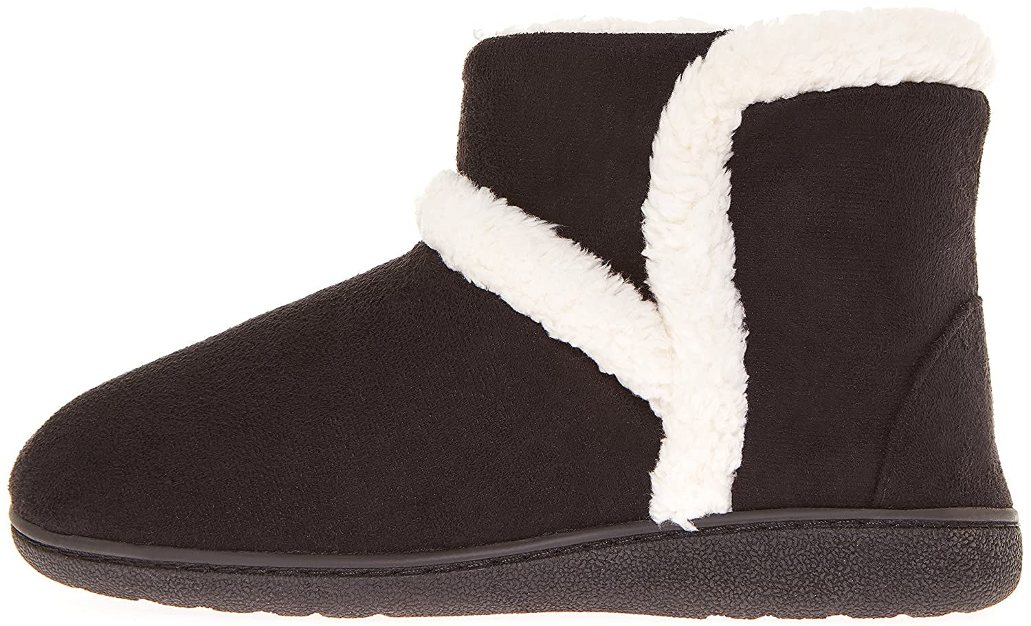 Floopi Womens Indoor Outdoor Sherpa Fur Lined Bootie Slipper WMemory Foam  B06XZT63ZD