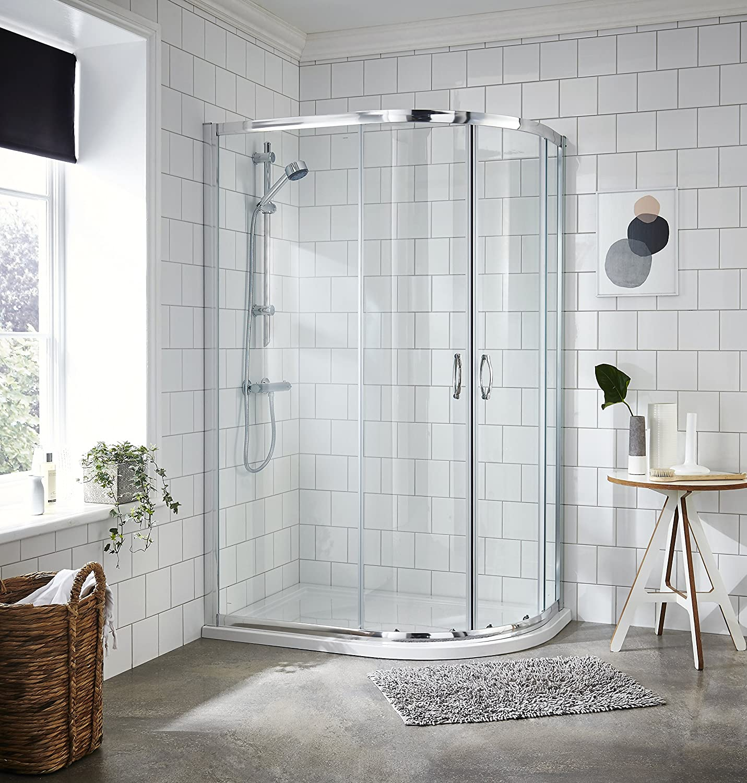 VeeBath Fenwick Glass Walk-in Offset Quadrant Shower Cubicle (900mm x 760mm)