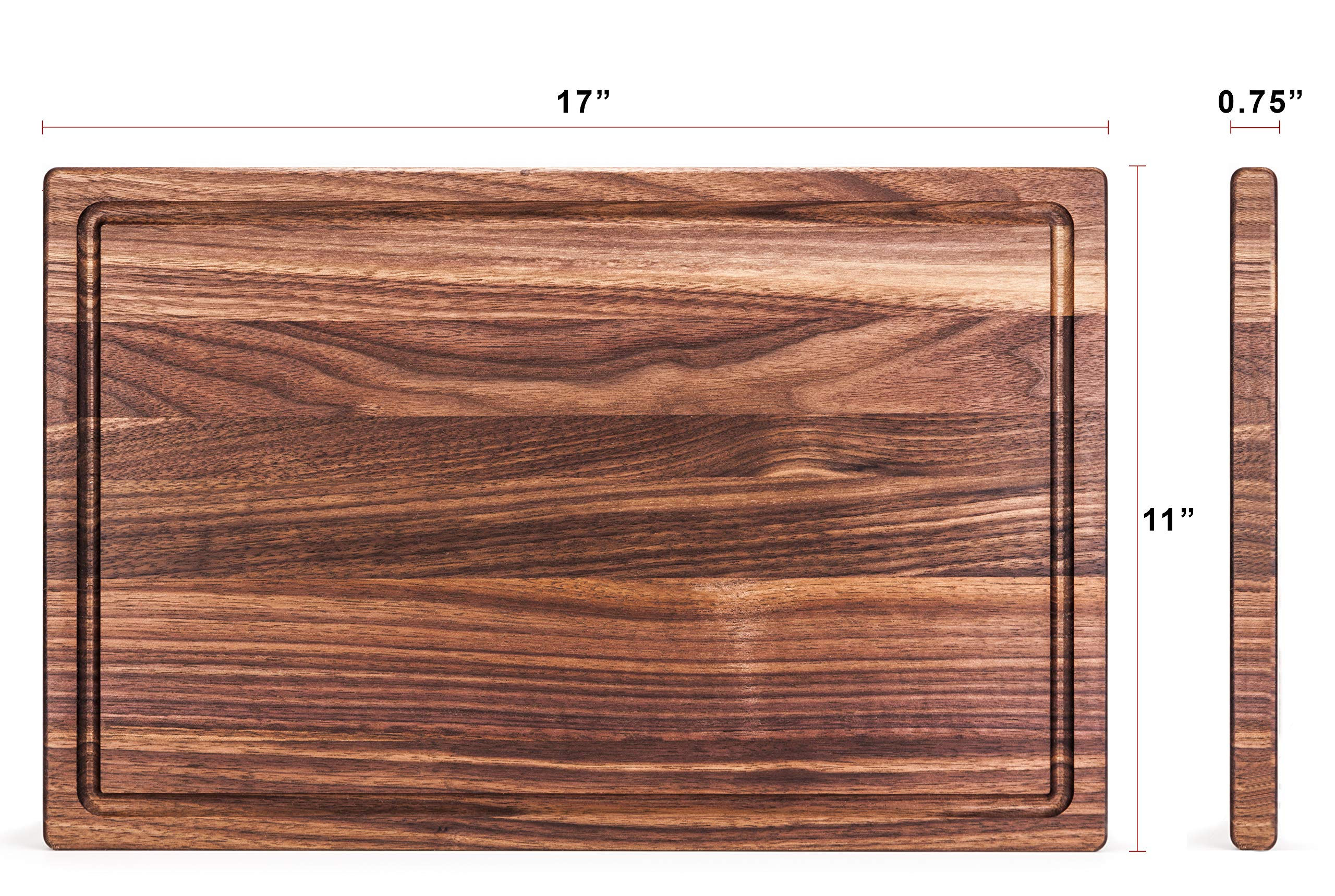 Boilton Large Walnut Wood Cutting Board - 17x11 with Juice Drip Groove, Big American Hardwood Chopping and Carving Countertop Block by Boilton (Image #7)