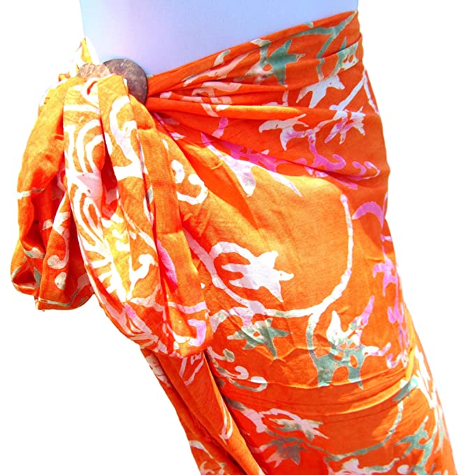 9abe92a9bcb38 Orange Floral Vine Full Size Hand Batik Bali Sarong Pareo Shawl ...