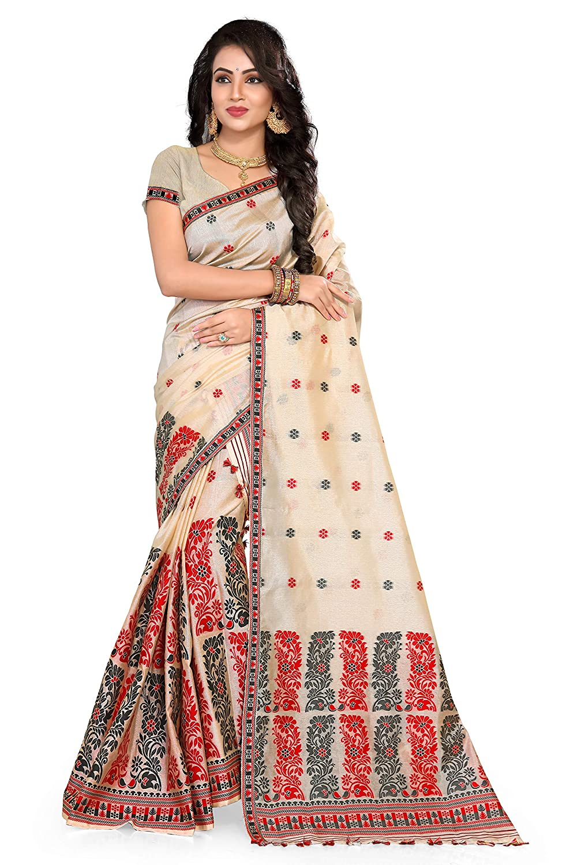 S. Kiran's Assamese Artificial Tassar Weaving Mekhela Chador Saree - Red Black - Mekhla Sador - Dn 3112
