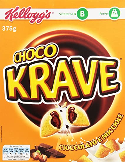 Kelloggs Cereales Krave Choco and Nuts - 2 Paquetes de 375 gr - Total: 750