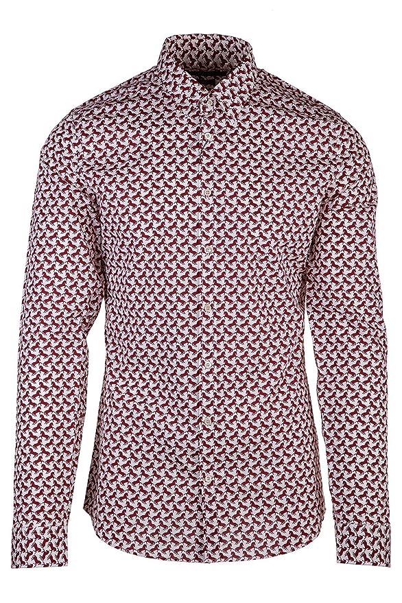Gucci Camisa de Mangas Largas Hombre Horse Print Blanco: Amazon.es ...