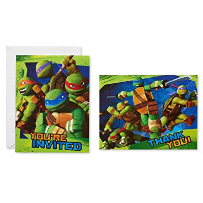 American Greetings Teenage Mutant Ninja Turtles (TMNT) Party Supplies, Invitation and Thank You Card Bundle (8-Count): Toys & Games