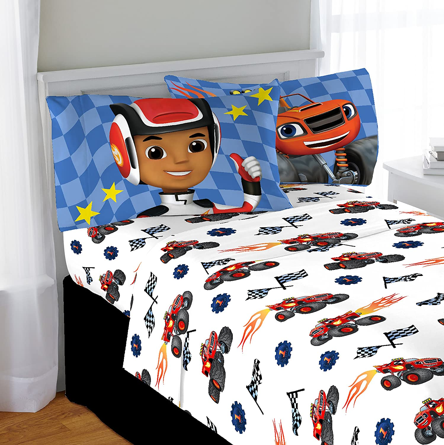Nickelodeon Blaze High Octane Microfiber Full 4 Piece Sheet Set