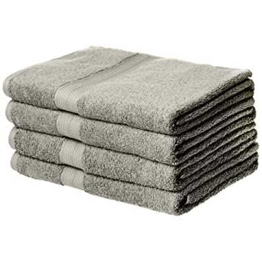 AmazonBasics Fade-Resistant Cotton Bath Towel - 4-Pack, Grey