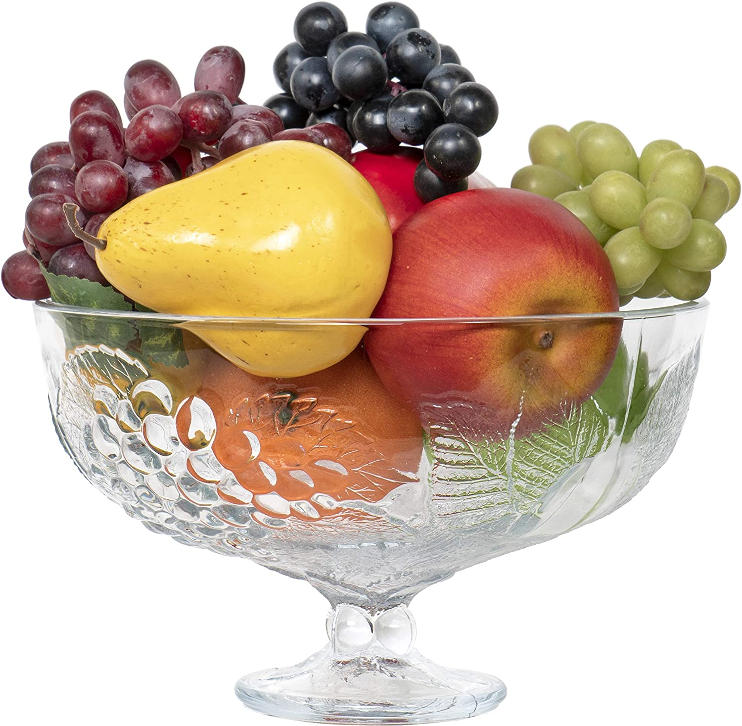 Red Co. Large Decorative Footed Centerpiece Glass Fruit Bowl, 9 inches