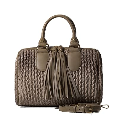 c1a433eb4c Handbag Republic Womens Vegan PU Leather Top Handle Handbag Tube Satchel  Style Two Tassel Zipper Closure