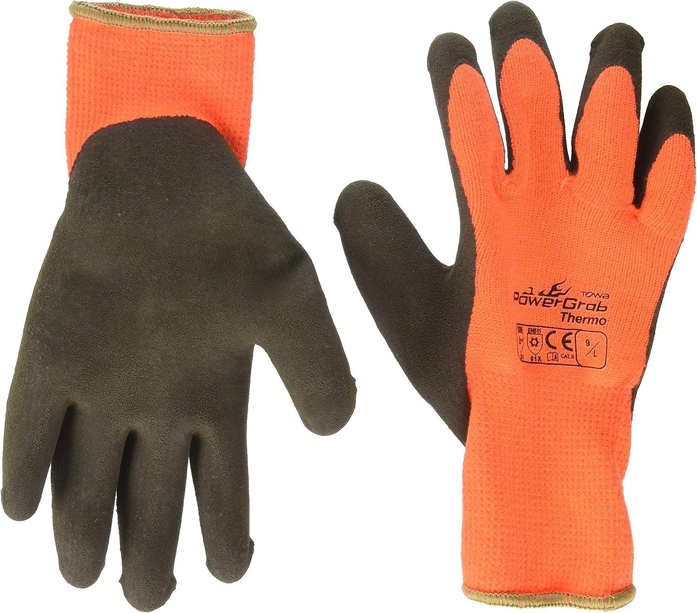 3 Pack Powergrab 41-1400 Thermal Hi-Vis Orange/Black Cold Condition Work Gloves (Large)