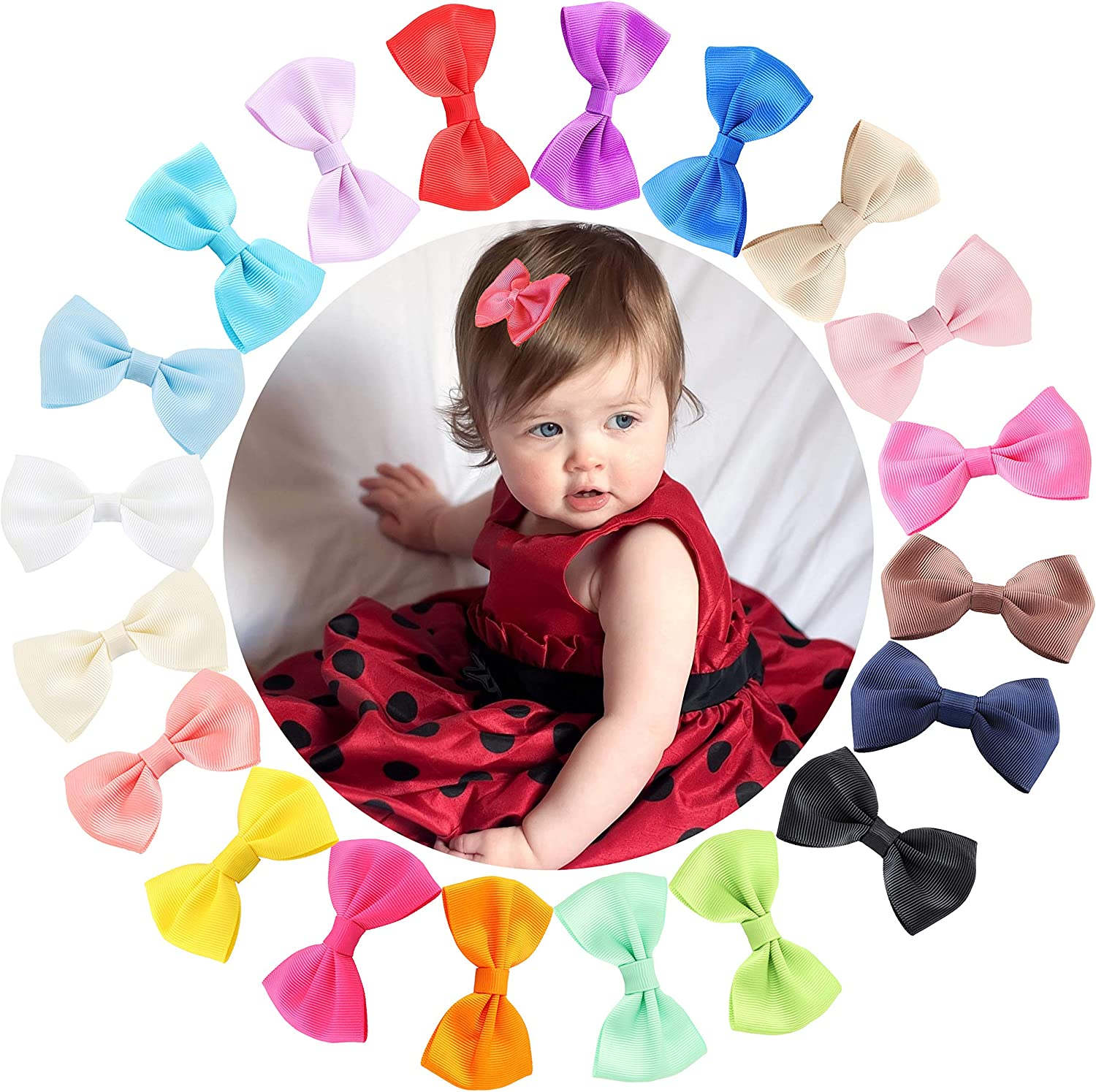 Adramata 20Pcs 3 in Mini Hair Bows Clip Baby Girls Boutique Grosgrain Ribbon Pinwheel Hair Bows with Alligator Clips Barrettes for Girl Teens Kids Babies Toddlers