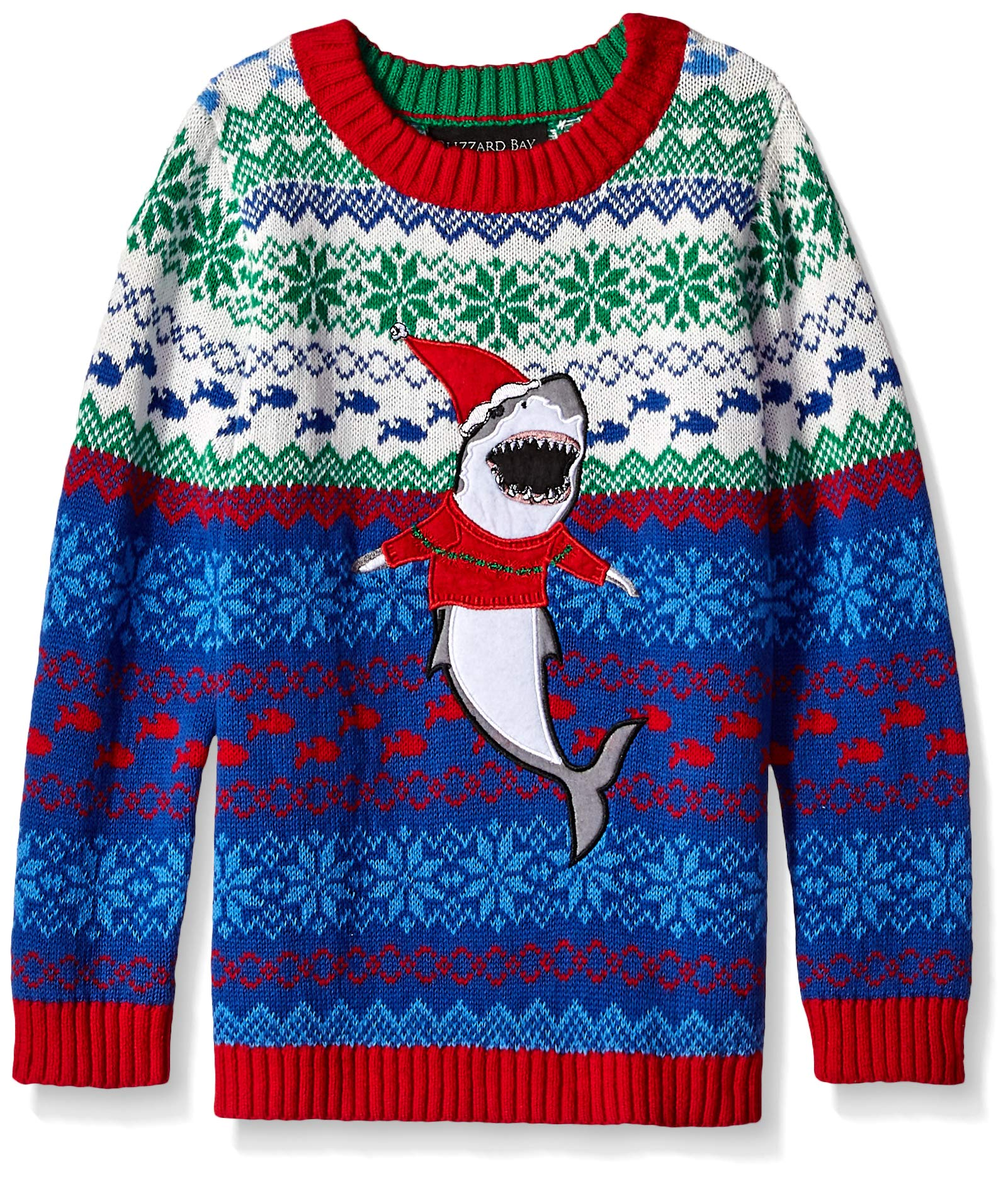 Blizzard Bay Boys' Big Ugly Christmas Shark in Sweater On Front, Blue Combo, M 12/14