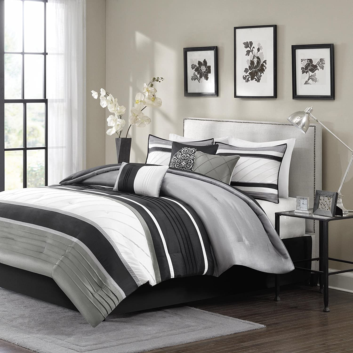 retro bedding window grey teal design bedroom stripe black gray ideas sets wooden and painted simple with tall queen headboard comforter