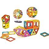 Supremery Magnetische Bauklötze Bausteine Konstruktions-Spielzeug Set   Lassen Sie Ihr Kind durch Farben und Formen Lernen   Kreatives und Pädagogisches Geschenk für Kinder über 3 Jahre (52 Teile)