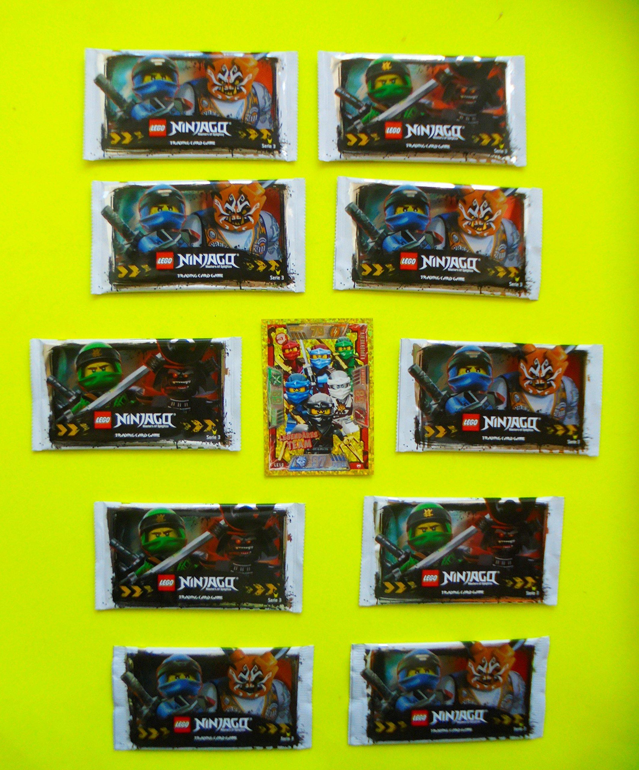 LEGO Ninjago Trading Cards Series 3 - 10 Packs x 5 Cards with Bonus Card Series 2 Legendary Team LE10 - GERMAN Edition