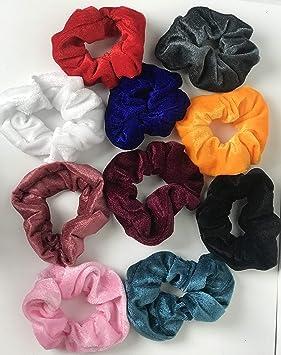 J80 Hair Scrunchies. 10 Pack Velvet Hair Scrunchies. Pelo ...