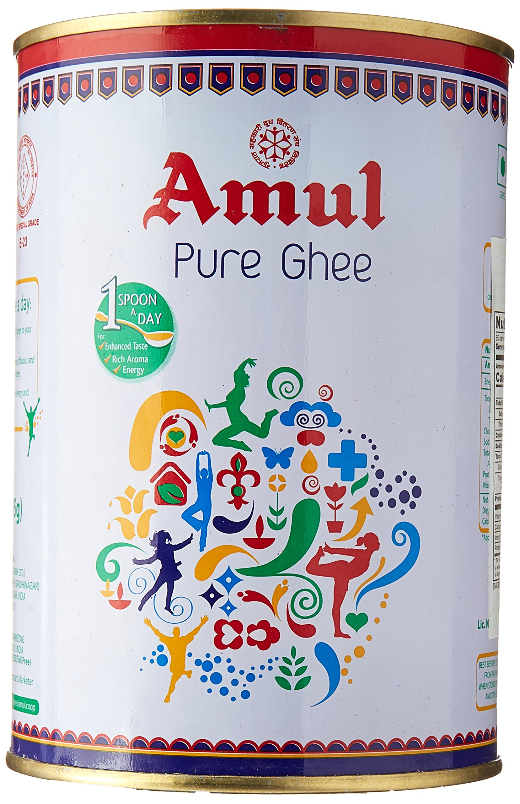Amul Pure Ghee Clarified Butter, 1 Litre (Pack of 2)