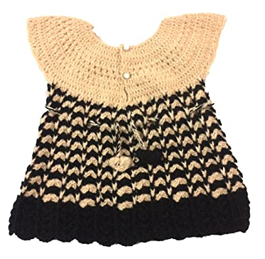 f41ef83894b5 Baby Girls Girl Frock Dress | Skirt | Baby Set | Designer | Hand knitted |  Crochet woolen | (Salmon Pink and Black Colour) | 12-24 Months: Amazon.in:  ...