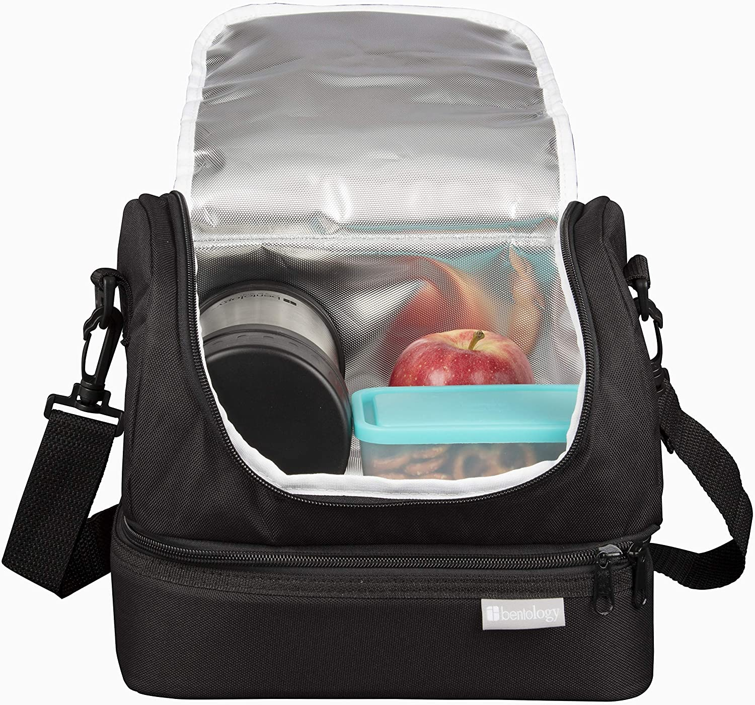 Insulated Lunch Box - Dual Compartment Lunchbox Bag Tote with Zipper Closure - Black