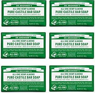 product image for Dr. Bronner's - Pure-Castile Bar Soap (Almond, 5 ounce) - Made with Organic Oils, For Face, Body and Hair, Gentle and Moisturizing, Biodegradable, Vegan, Cruelty-free, Non-GMO (5 Ounce, 6-Pack)
