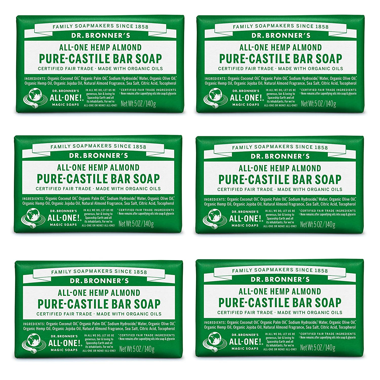 Dr. Bronner's - Pure-Castile Bar Soap (Almond, 5 oz, 6-Pack) - Made with Organic Oils, For Face, Body & Hair, Gentle & Moisturizing, Biodegradable, Vegan, Cruelty-free, Non-GMO