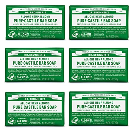 Dr. Bronner s – Pure-Castile Bar Soap Almond, 5 oz, 6-Pack – Made with Organic Oils, For Face, Body Hair, Gentle Moisturizing, Biodegradable, Vegan, Cruelty-free, Non-GMO