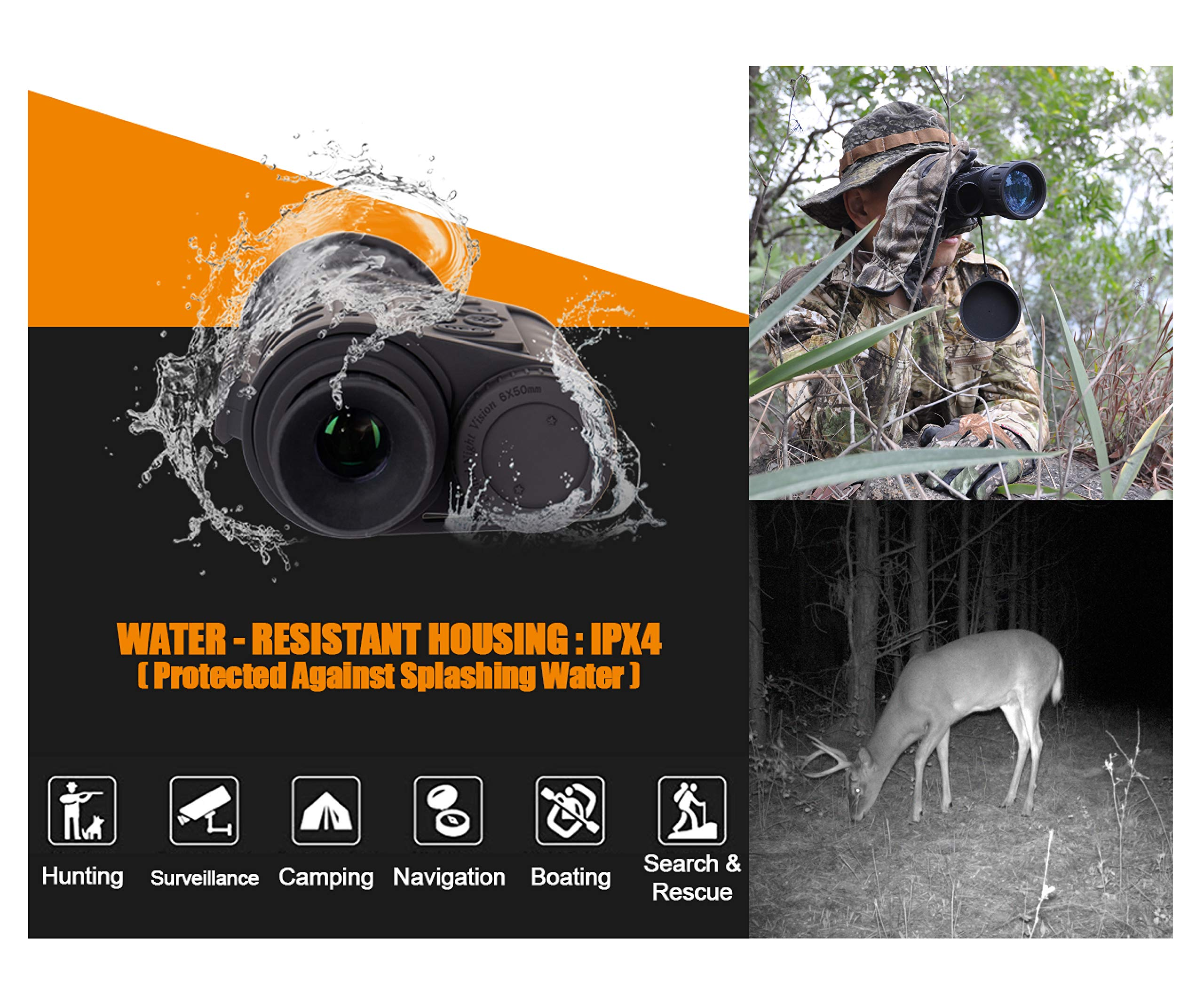 Summit Tools HD Digital Night Vision Monocular up to 1150 FT Range, 1.5-inch Display with Camera&Camcorder Function, 6X Magnification and 50 mm Objective Lens, Takes 5MP Photo & HD Video by Summit Tools (Image #4)