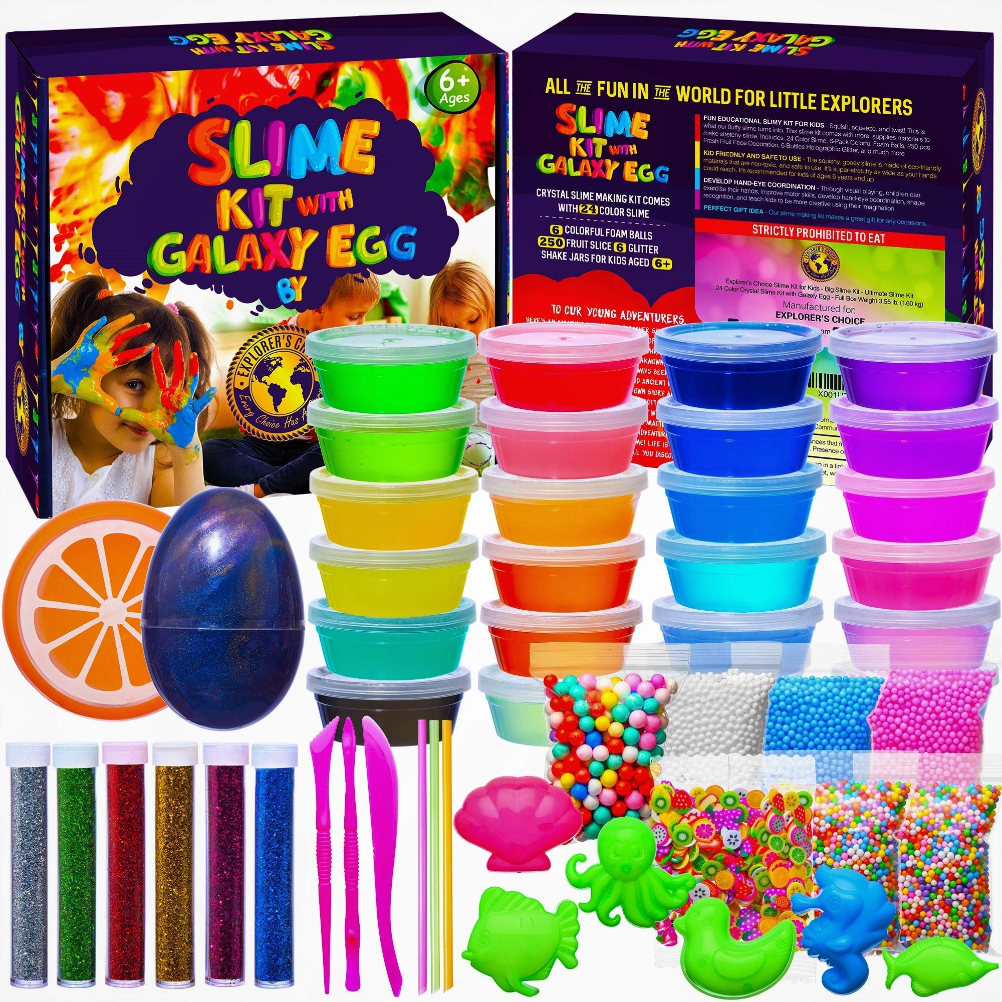 EXPLORER'S CHOICE Slime Kit for Girls and Boys - DIY Big Slime Kit 3.55 pounds - 24 Clear Slime Containers - Super Fun Toys for Girls and Boys - Slime Kits Supplies with Foam Beads by EXPLORER'S CHOICE