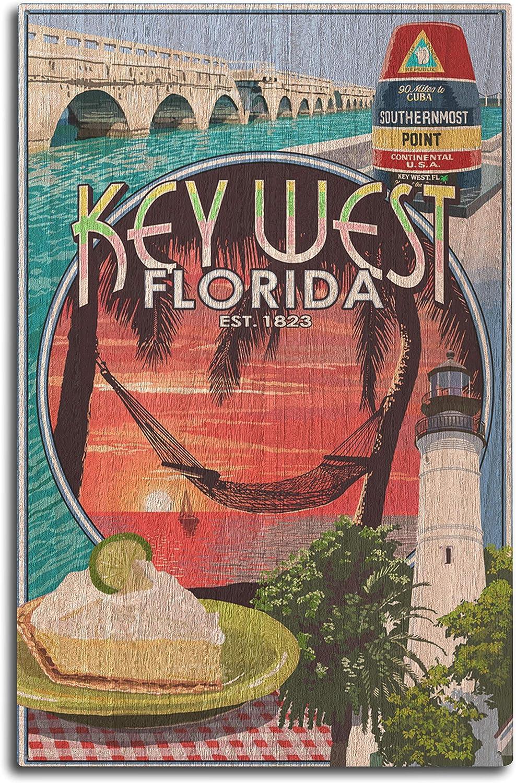 Lantern Press Key West, Florida - Montage (10x15 Wood Wall Sign, Wall Decor Ready to Hang)