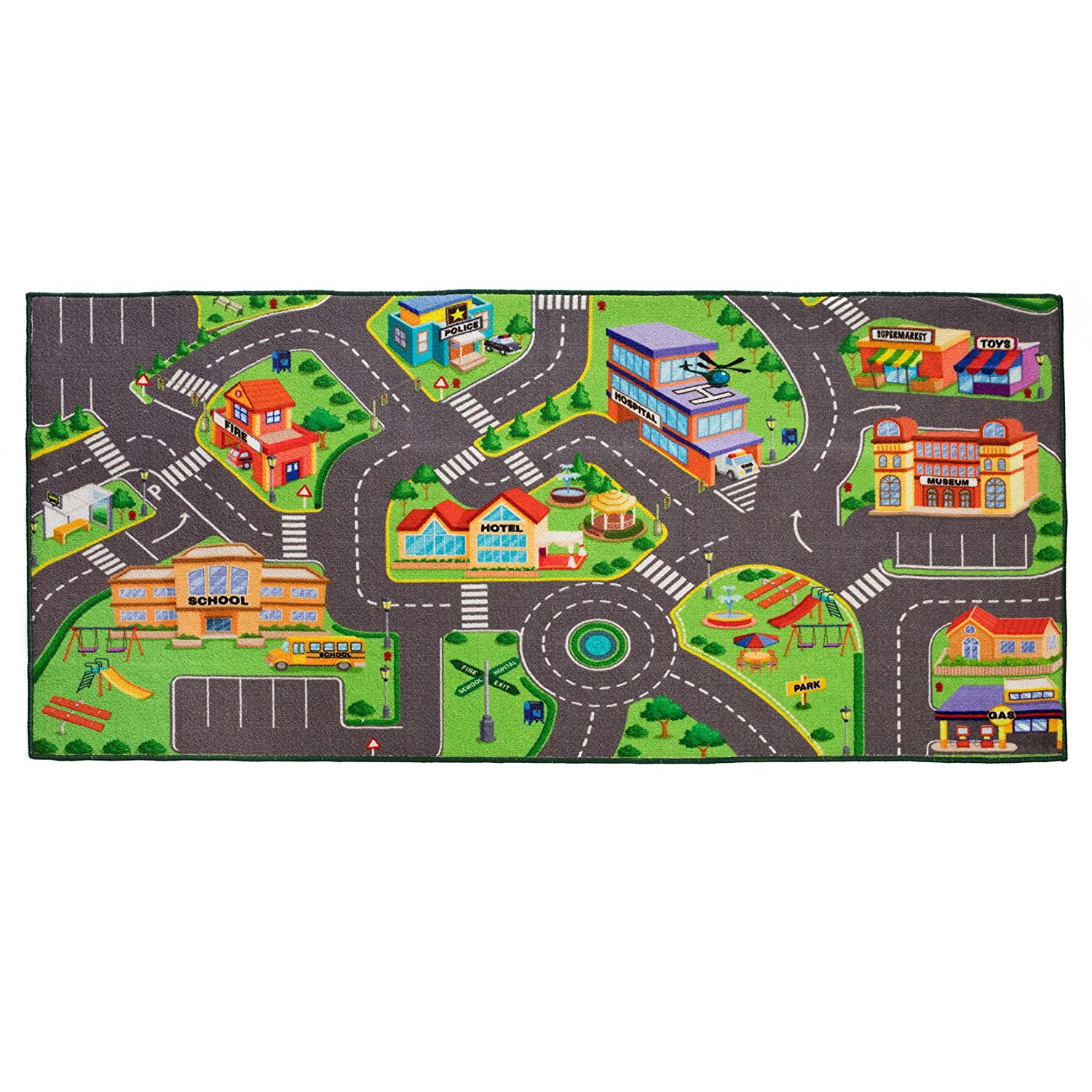 Toy Car Mat Hot Wheels Matchbox Carpet Kids Rug City Train