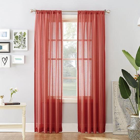 Amazon.com: No. 918 Cory Open Weave Cotton Sheer Curtain Panel, 50 ...