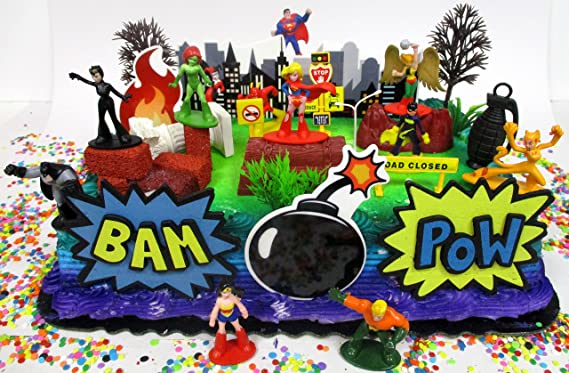 Pleasing Amazon Com Cake Toppers Dc Comics Super Hero Girls Birthday Set Funny Birthday Cards Online Alyptdamsfinfo