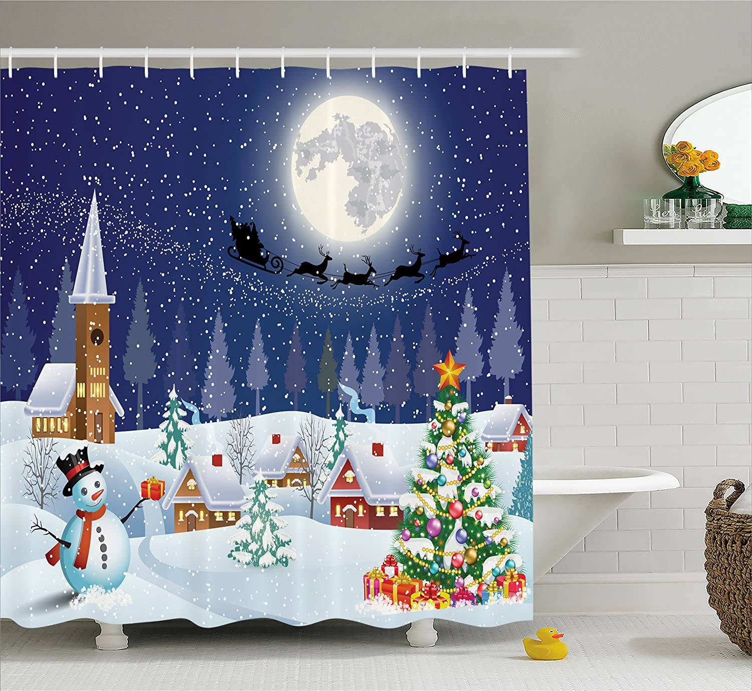 Ambesonne Christmas Shower Curtain, Winter Season Snowman Xmas Tree Santa Sleigh Moon Present Boxes Snow and Stars, Fabric Bathroom Decor Set with Hooks, 70 Inches, Blue White