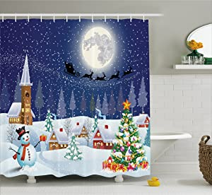 Ambesonne Christmas Shower Curtain, Winter Season Snowman Xmas Tree Santa Sleigh Moon Present Boxes Snow and Stars, Fabric Bathroom Decor Set with Hooks, 70 Inches, Blue White