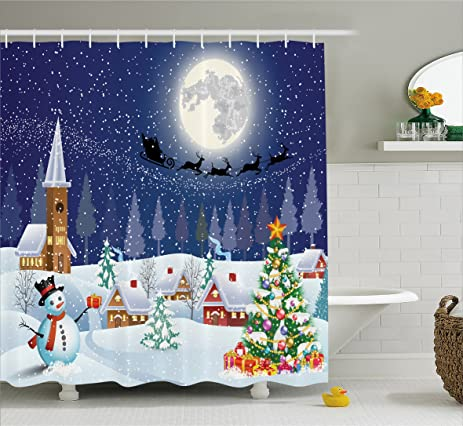 snowman bathroom sets. Christmas Shower Curtain Snowman Bathroom Acessories by  Ambesonne Santa Reindeer Eve in Small Amazon com