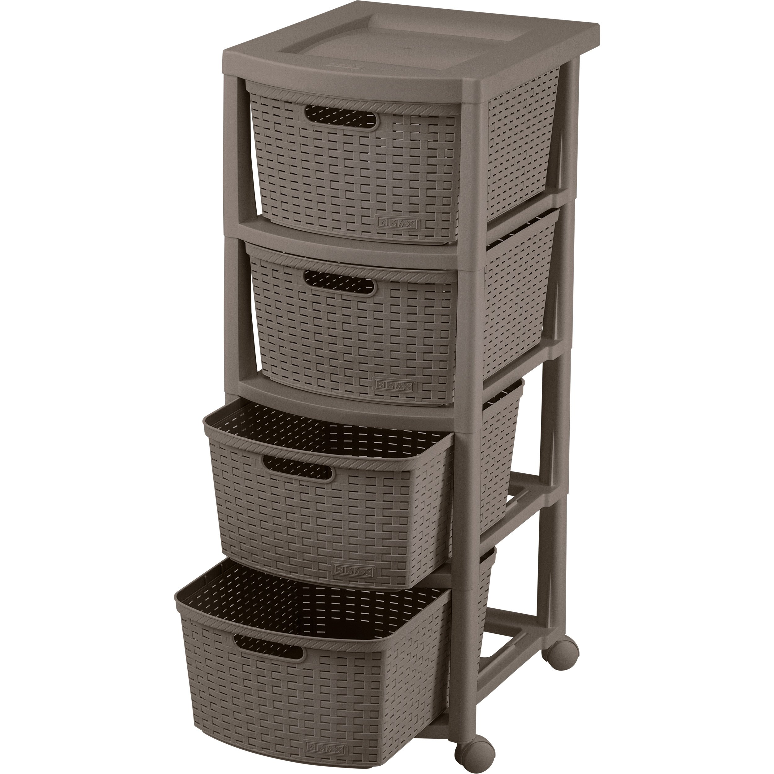 Rimax Mobile 10433 Four Drawer Rolling Cart in Mocca