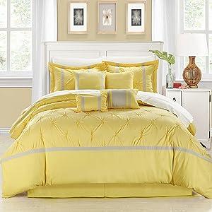Chic Home Vermont 8-Piece Bedding Comforter Set Cozy and Elegant (Queen, Yellow/Gray)