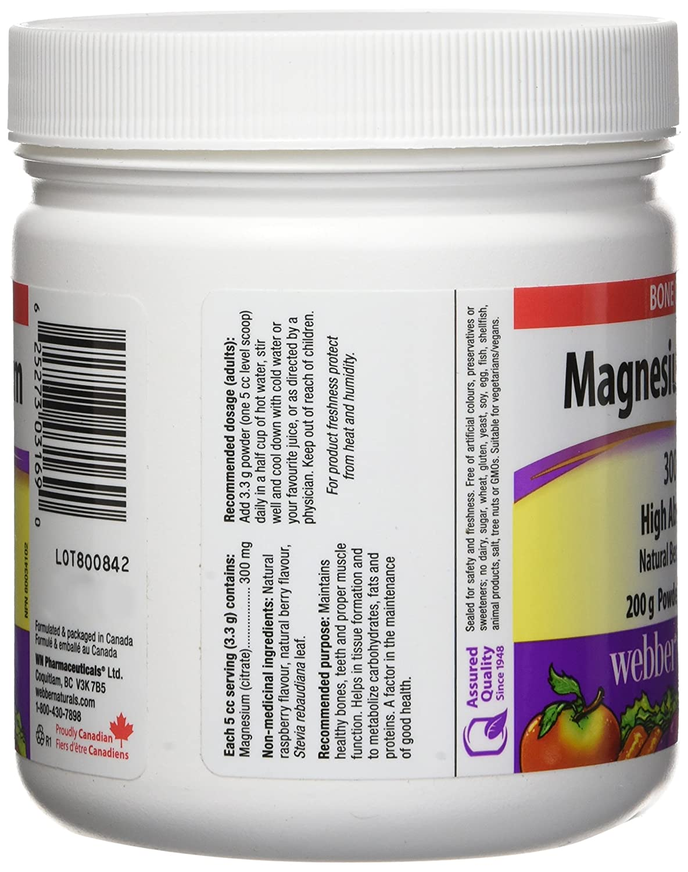 Amazon.com: Webber Naturals Magnesium Citrate Powder 300 mg, 200g: Health & Personal Care