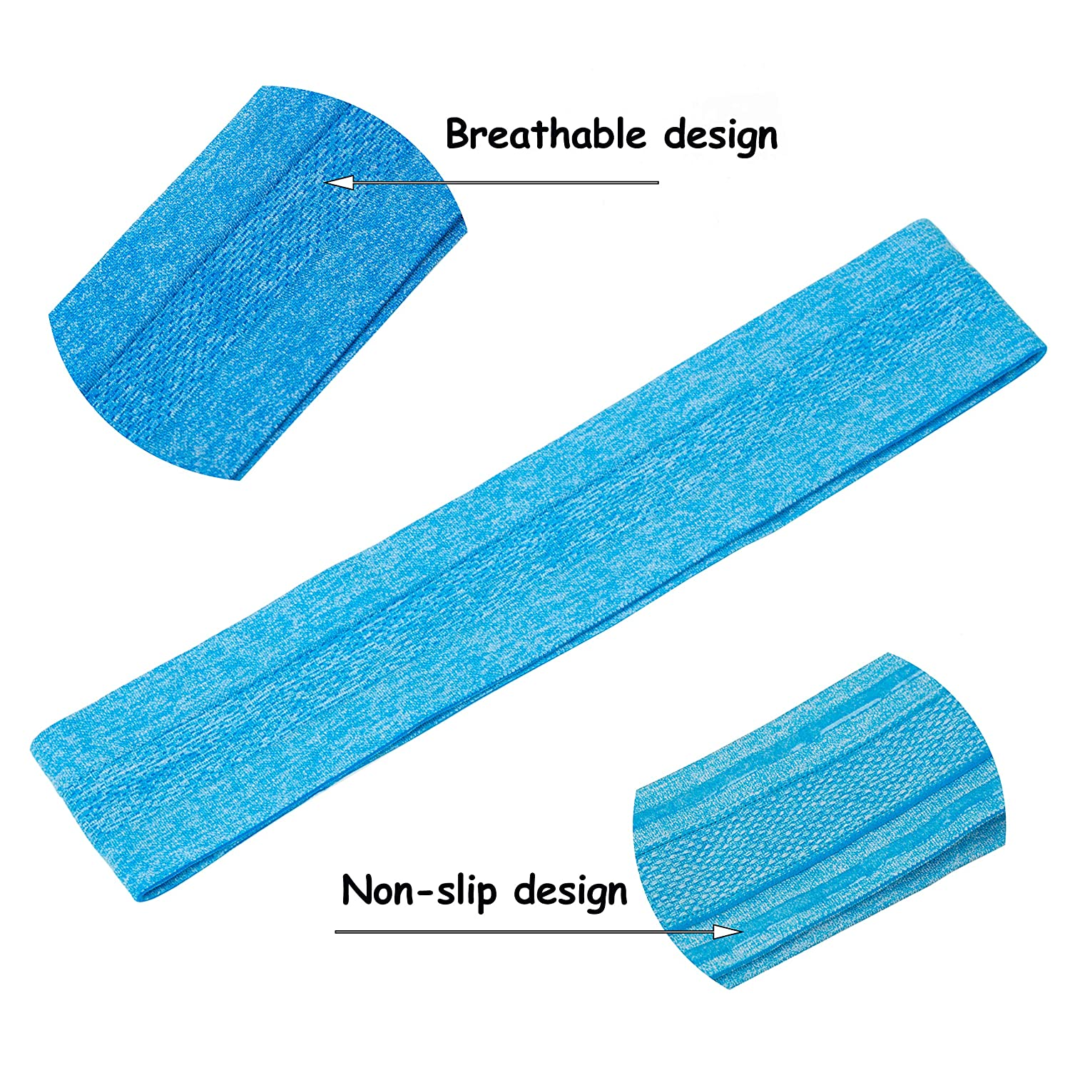 Stouge 2 Pack Anti-Slip Headband for Women,Mens Sports Sweatbands-Workout Yoga Running Sweat Wicking Stretchy Hair Bands