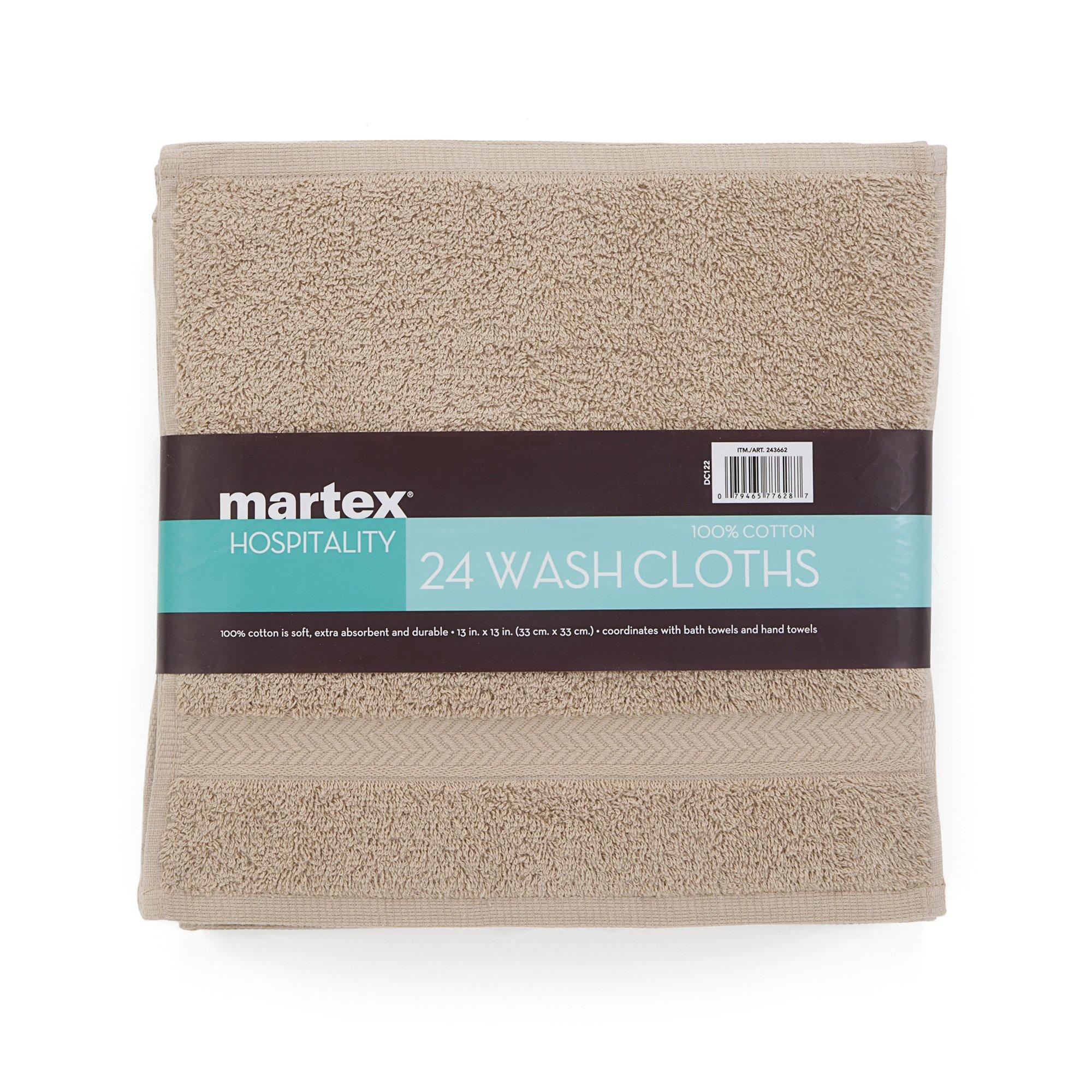 COMMERCIAL 24 PIECE WASH CLOTH  TOWEL SET BY MARTEX -  24 Wash Cloths, Home, Shower, Tub, Gym, Pool  - Machine Washable, Absorbent, Professional Grade, Hotel Quality - KHAKI
