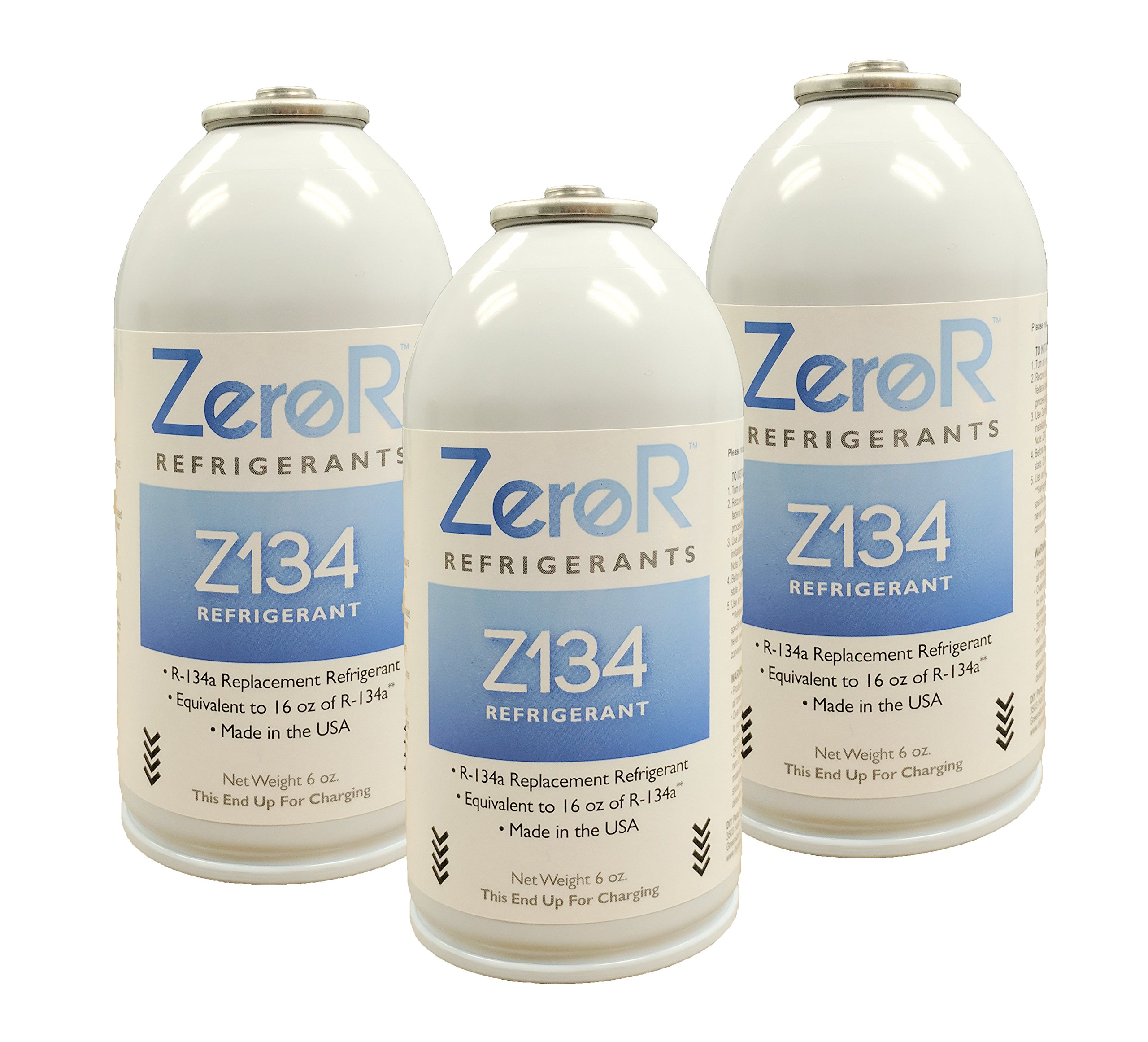 ZeroR Z134 Refrigerant - R134a Replacement - 3 Cans - Made in USA - Natural Non Ozone Depleting by ZeroR