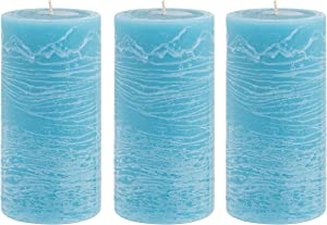 Unscented 3x6 Tall Pillar Candles – Set of 3 Hand Poured Wax Candles   Smokeless, Clean Burning Décor for Home, Weddings, Church, Events   Ocean Blue