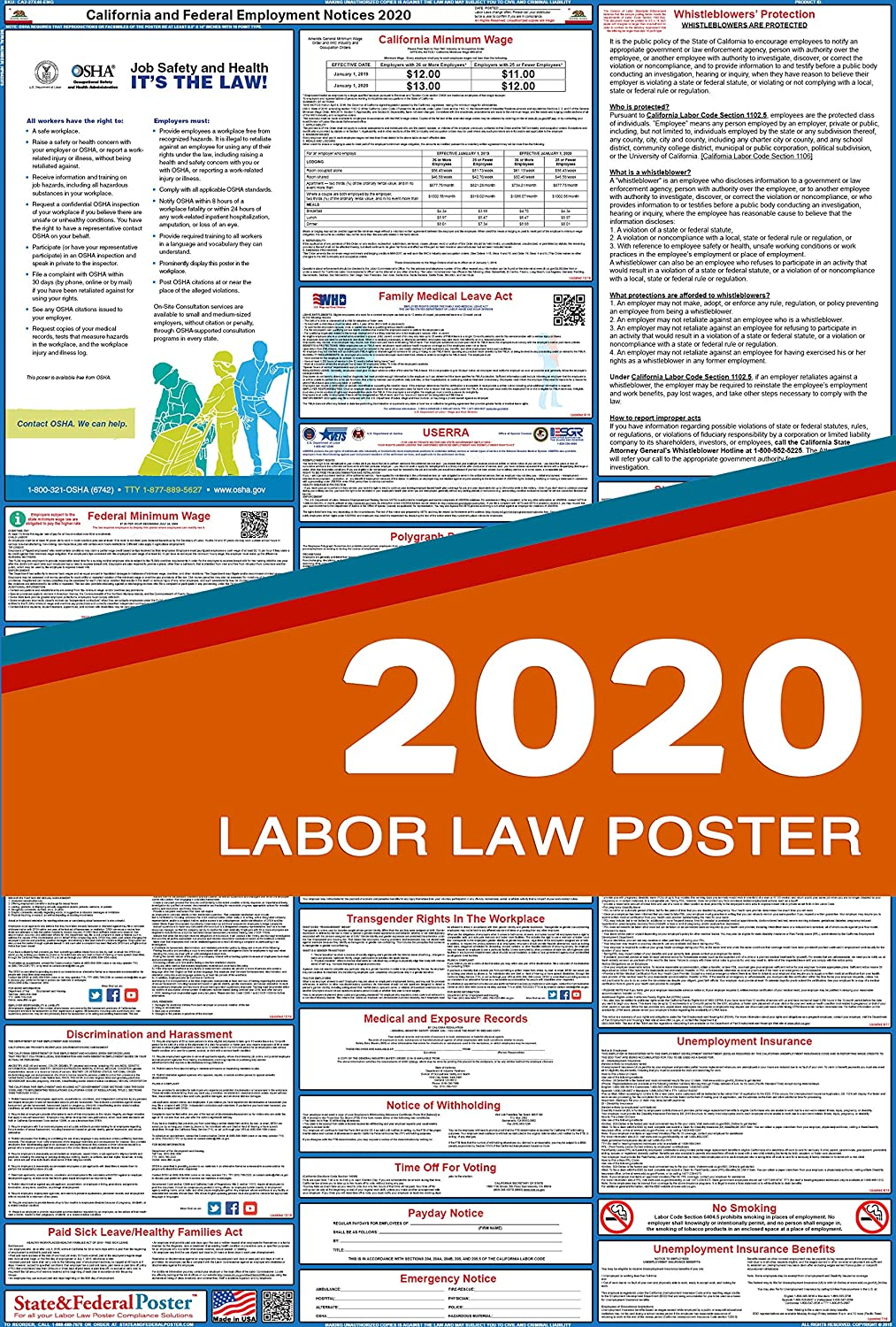California New Laws 2020.2020 California Labor Law Posters Laminated All In One State And Federal Approved Osha Compliant Vertical 27 X40 Ca2 27x40 Eng