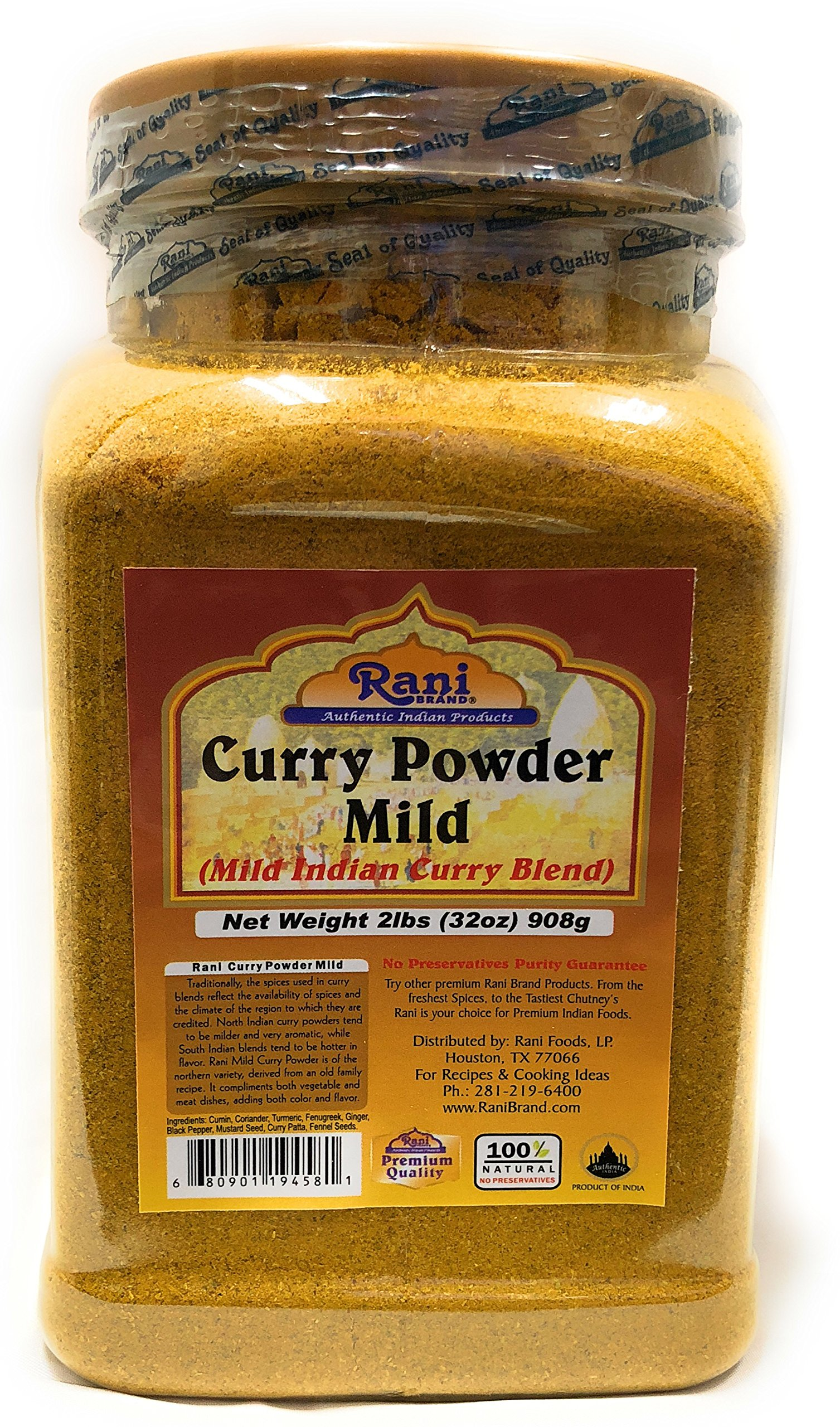 Rani Curry Powder Mild Natural 10-Spice Blend 2lb (32oz) Salt Free ~ Gluten Free Bulk